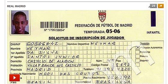 Neymar tuvo ficha con el Real Madrid cuando tenía 13 años