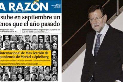"""El triple salto mortal de La Razón para agradar al Gobierno: """"El paro sube en septiembre un 62% menos que el año pasado"""