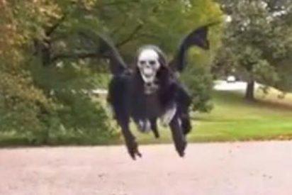 Un diabólico esqueleto provoca el espanto sobrevolando un parque de EEUU