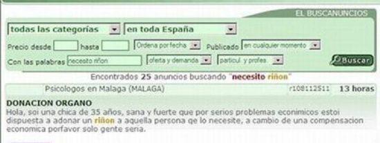 España en coma: cada vez más personas tratan de vender sus órganos en Internet por la crisis