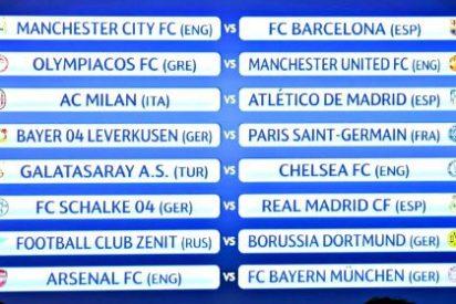 Octavos de Champions: Schalke-Real Madrid, Manchester City-Barça, Milan-Atlético de Madrid