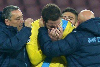 Lágrimas de Higuaín en la eliminación del Nápoles