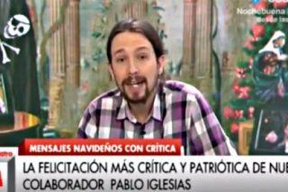 El 'progre' Pablo Iglesias emite en Cuatro TV un mensaje de Navidad alternativo al del Rey