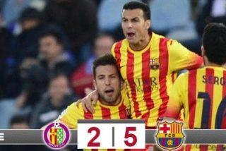 Pedro hizo a la vez de Messi y de Neymar