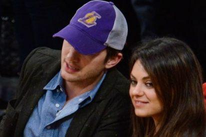 Ashton Kutcher y Mila Kunis pasean su amor por la NBA