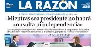 """La Razón 'ofrenda' a Rajoy su análisis sobre la entrevista: """"Ha conseguido su propósito de transmitir serenidad y confianza"""""""