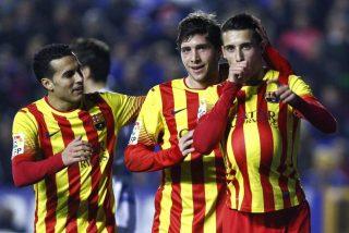 Un autogol circense del Levante cuando ganaba 1-0 despierta a Tello, inspira a Messi y anima al Barça