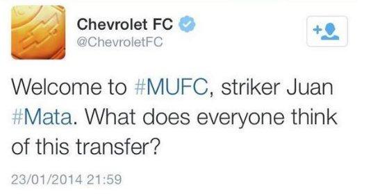 Chevrolet da la bienvenida a Mata al United… y luego borra el tweet