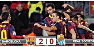 El Barça, con ayuda arbitral, gana 2-0 a la Real Sociedad y mete un pie en la final de Copa