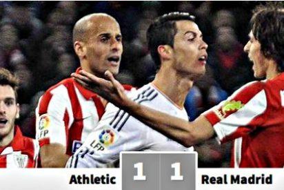 El árbitro expulsa con tarjeta roja a Cristiano Ronaldo y el Athletic de Bilbao empata con el Real Madrid