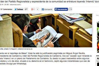 Miguel Ángel Revilla, cazado en el Parlamento de Cantabria 'arreglando el país'