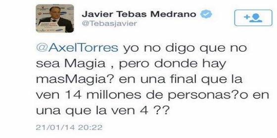 Tebas quiere a Madrid y Barça en la final de Copa