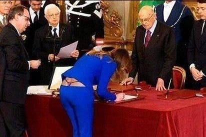 El tanga de la ministra italiana hace que se le bajen los pantalones al más incauto