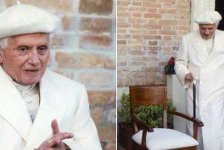Ratzinger, notablemente envejecido y con boina blanca