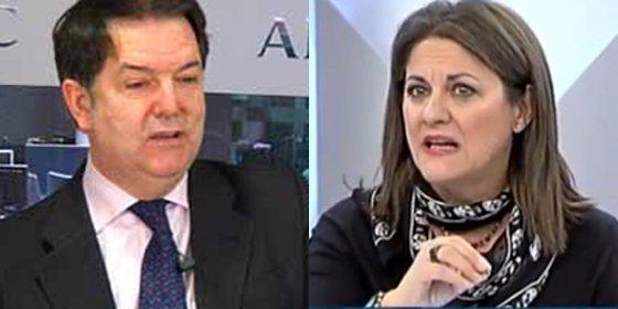 """María Antonia Trujillo se irrita con Bieito Rubido después de criticar la portada de ABC: """"¡No tienes derecho a preguntarme mi militancia!"""""""