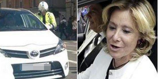 Esperanza Aguirre se da a la fuga tras arrollar la moto de un agente