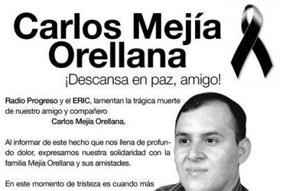 Carlos Mejía Orellana, asesinado en Honduras