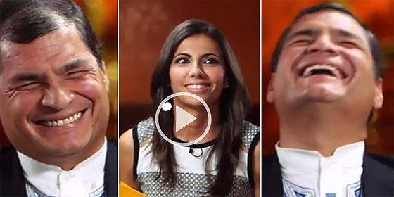 Rafael Correa, presidente de Ecuador, se desternilla de risa al ser entrevistado por Ana Pastor
