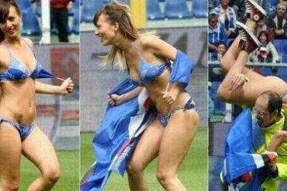 Una mujer en ropa interior obliga a interrumpir el Sampdoria-Nápoles