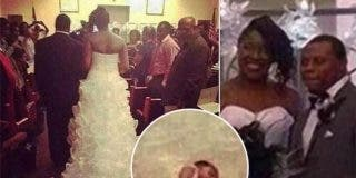 Una novia algo descocada se casa con su bebé...¡'cosido' al vestido!