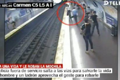 El vídeo del policía al que roban en el metro de Madrid tras salvar heroicamente una vida