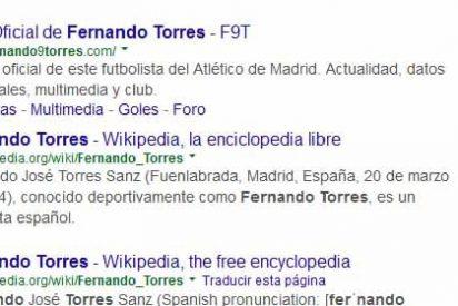 Fernando Torres se coloca en el Atlético es su página web