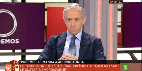 """Eduardo Inda responde a la demanda de Pablo Iglesias: """"A él le gustaría amordazarme"""""""