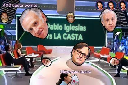 Pablo Iglesias lanza rayos por los ojos entre insultos para fulminar a Aguirre, Inda y Marhuenda