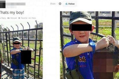 Un yihadista australiano del Estado Islámico retrata a su hijo de 7 años exhibiendo una cabeza decapitada