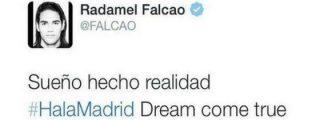 El 'Tigre' Falcao confirma su fichaje por el Real Madrid en Twitter… y lo borra al instante