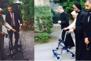 Un débil Benedicto XVI reaparece con andador en los jardines vaticanos
