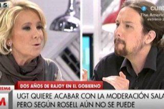 """Pablo Iglesias no comulga con Esperanza Aguirre: """"A algunos le encanta privatizar y luego dar limosna a órdenes religiosas"""""""