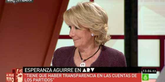 """Esperanza Aguirre a Ferreras: """"Preocúpese usted del ascenso de Podemos, que ya dijeron que los medios de comunicación no pueden estar en manos privadas"""""""