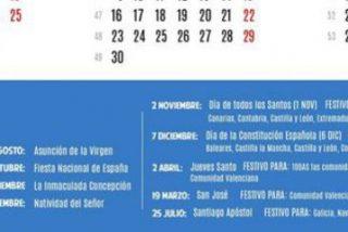 Calendario laboral 2015: ocho fiestas nacionales y no hay puentes largos