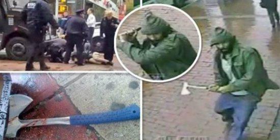 El vídeo del fanático yihadista americano que arremete a hachazos contra dos policías
