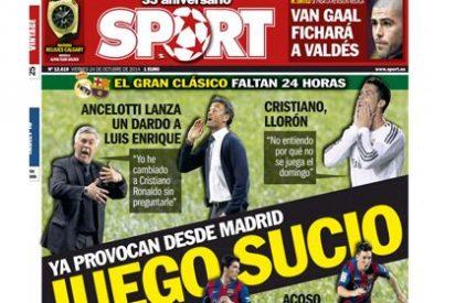"""José Luis Sánchez se mofa de la portada de Sport, que acusa al Madrid de juego sucio: """"Es un mal chiste"""""""