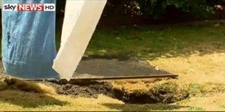 Se le traga la tierra mientras estaba tendiendo la ropa en el jardín