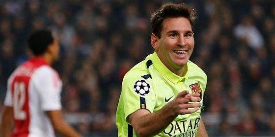 Messi iguala a Raúl en la Champions y salva un 'match ball' ante el Ajax (0-2)