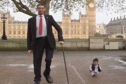 El hombre más alto del mundo y el más enano se dan un insólito garbeo