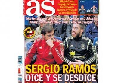 """Sergio Ramos se la clava al diario AS: """"No me gustó una portada suya que aseguraba que yo me contradecía cuando no lo había hecho"""""""