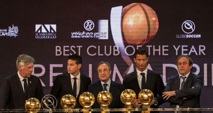 El Real Madrid junto con Cristiano Ronaldo, arrasa en los Globe Soccer Awards