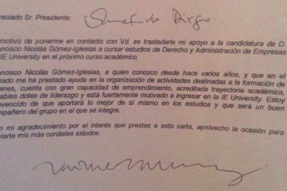 """García-Legaz envió una carta de recomendación del """"pequeño Nicolás"""" para estudiar en el IE"""