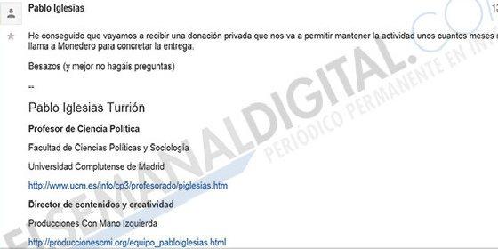 """Un e-mail de Iglesias prueba donaciones oscuras: """"No hagáis preguntas"""""""