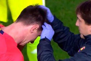 Leo Messi, agredido en Mestalla tras recibir un fuerte botellazo en la cabeza