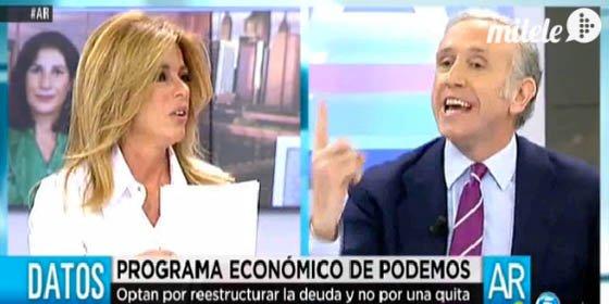 """Eduardo Inda se encara con Esther Palomera y la llama """"marciana"""" y """"señorita de Podemos"""""""