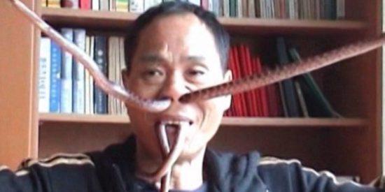 El chino que se mete serpientes vivas por la nariz no tiene sinusitis y come coliflor como un conejo