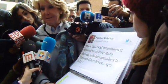 """Esperanza Aguirre: """"Este es el apoyo de Podemos a ETA, a Josu Bolinaga, al que llaman luchador incansable"""""""