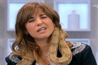 """[Vídeo] El canguelo de Mariló Montero con una boa al cuello: """"¡Ay, una culebra!"""""""