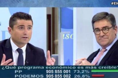 Merlos deja mudo y en paños menores al economista de Podemos por su baboso masaje a Hugo Chávez