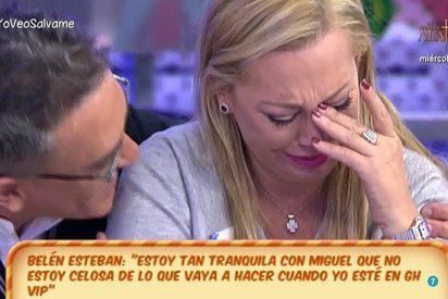 """Dolor y llanto de Belén Esteban al despedirse de sus compañeros en 'Sálvame': """"Me preocupa lo que diga la gente"""""""